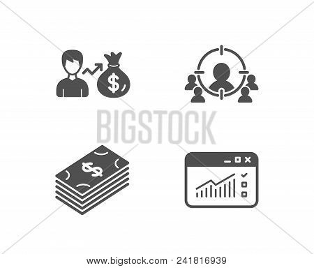 Set Of Sallary, Dollar And Business Targeting Icons. Web Traffic Sign. Person Earnings, Usd Currency