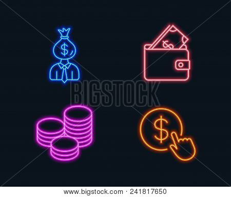 Neon Lights. Set Of Manager, Wallet And Tips Icons. Buy Currency Sign. Work Profit, Usd Cash, Cash C