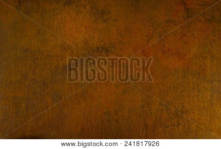 Aged Copper Plate Texture, Old Worn Metal Background, Close Up.