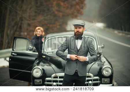 Security Guard Of Luxury Woman. Securoti Guard Man And Girl In Retro Car