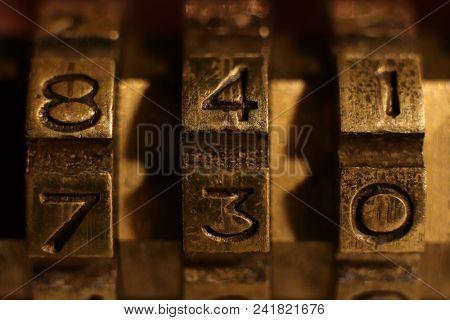 Retro Bronze Lock Number Combination. Shiny Vintage Codes: 841 730.