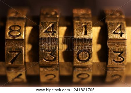 Retro Bronze Lock Number Combination. Shiny Vintage Codes: 8414 7303.