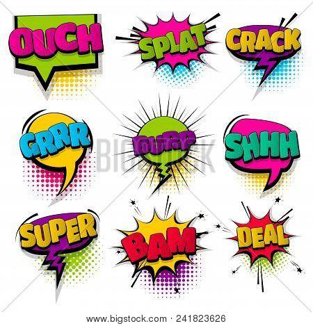 splat burp shh super set hand drawn pictures effects template comics speech bubble halftone dot background pop art style. Comic dialog cloud, text pop-art. Idea conversation sketch explosion. poster