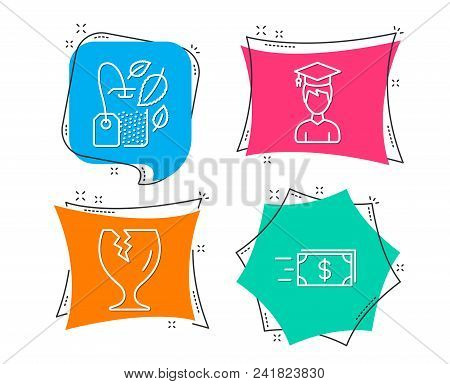 Set Of Student, Fragile Package And Mint Bag Icons. Money Transfer Sign. Graduation Cap, Safe Shippi