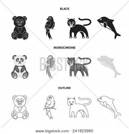 Panda.popugay, Panther, Dolphin.animal Set Collection Icons In Black, Monochrome, Outline Style Vect
