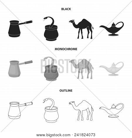 Cezve, Oil Lamp, Camel, Snake In The Basket.arab Emirates Set Collection Icons In Black, Monochrome,