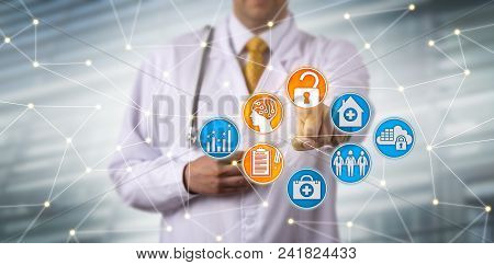 Unrecognizable Male Clinician Securely Accessing Electronic Health Records Via Ai In A Network. Heal