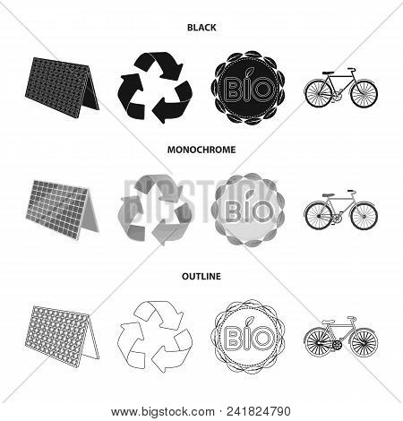 Bio Label, Eco Bike, Solar Panel, Recycling Sign.bio And Ecology Set Collection Icons In Black, Mono