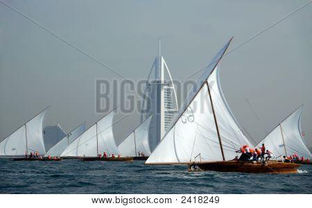 Sailing Dhows Passing Burj Dubai