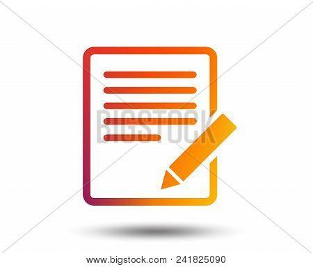 Edit Document Sign Icon. Edit Content Button. Blurred Gradient Design Element. Vivid Graphic Flat Ic