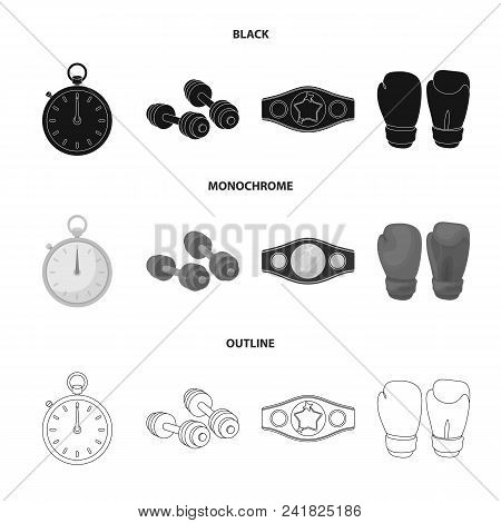 Boxing, Sport, Stopwatch, Watch .boxing Set Collection Icons In Black, Monochrome, Outline Style Vec