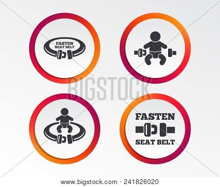 Fasten Seat Belt Icons. Child Safety In Accident Symbols. Vehicle Safety Belt Signs. Infographic Des