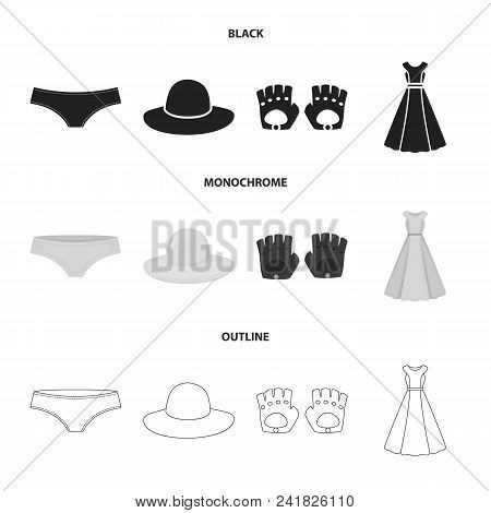 Panties, Gloves, Dress, Hat. Clothing Set Collection Icons In Black, Monochrome, Outline Style Vecto