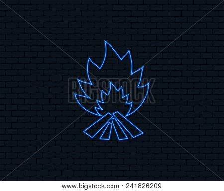 Neon Light. Fire Flame Sign Icon. Heat Symbol. Stop Fire. Escape From Fire. Glowing Graphic Design.