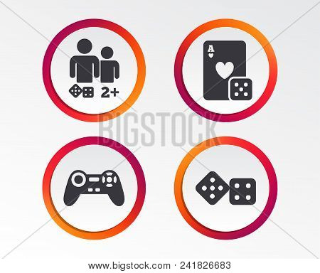 Gamer Icons. Board Games Players Signs. Video Game Joystick Symbol. Casino Playing Card. Infographic