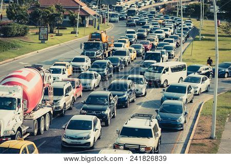 Panama City, Panama - March 2018: Traffic Jam With Many Cars On Busy Highway (avenida Balboa) In Pan
