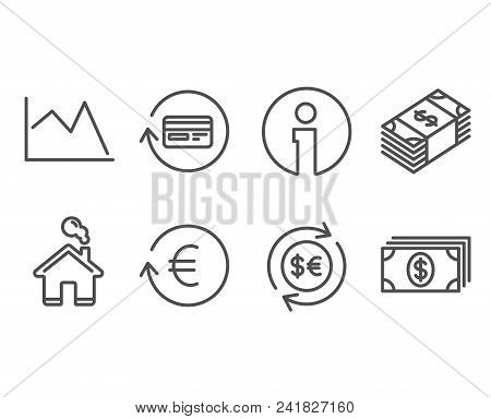 Set Of Money Currency, Exchange Currency And Refund Commission Icons. Line Chart, Banking Signs. Cas