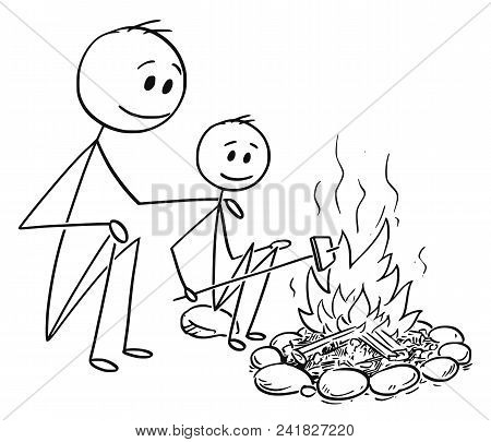 Cartoon Stick Man Drawing Conceptual Illustration Of Father And Son Sitting Around Fire Or Campfire.