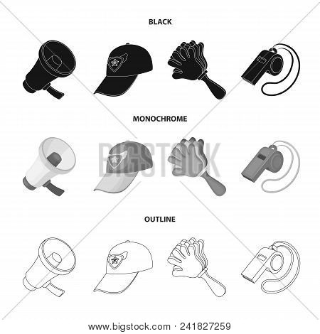 Megaphone, Whistle And Other Attributes Of The Fans.fans Set Collection Icons In Black, Monochrome,