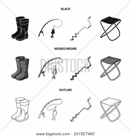 Fishing, Fish, Catch, Fishing Rod .fishing Set Collection Icons In Black, Monochrome, Outline Style