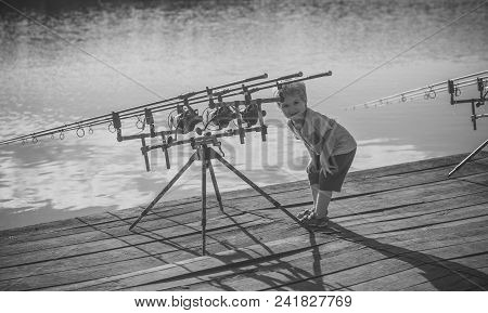 Angling, Fishing, Activity, Adventure, Hobby, Sport Angling Child With Fishing Rod On Wooden Pier