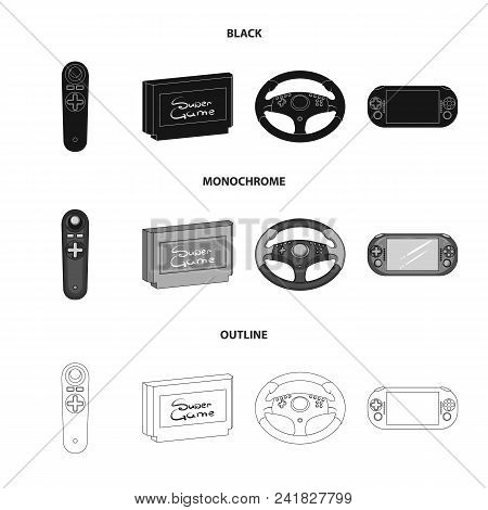 Game Console And Joystick Black, Monochrome, Outline Icons In Set Collection For Design.game Gadgets