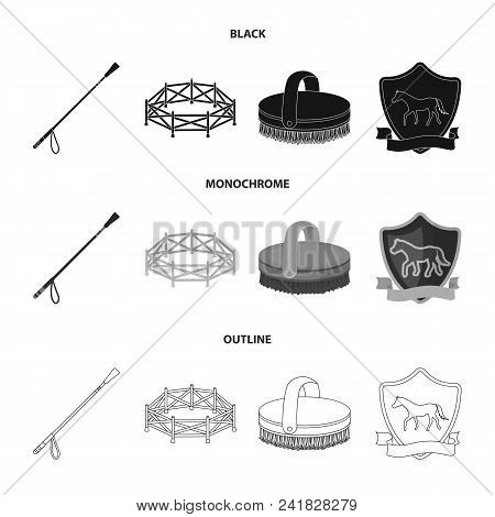 Aviary, whip, emblem, hippodrome .Hippodrome and horse set collection icons in black, monochrome, outline style vector symbol stock illustration . poster