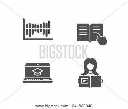 Set Of Column Diagram, Read Instruction And Website Education Icons. Woman Read Sign. Sale Statistic