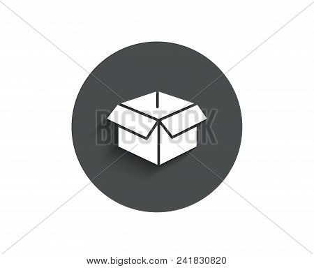 Opened Box Simple Icon. Logistics Delivery Sign. Parcels Tracking Symbol. Circle Flat Button With Sh