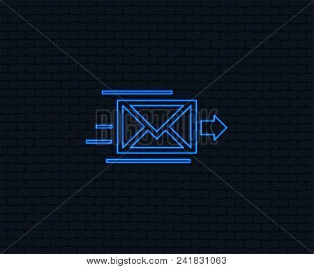 Neon Light. Mail Delivery Icon. Envelope Symbol. Message Sign. Mail Navigation Button. Glowing Graph