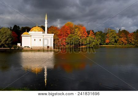 White Mosque On Blue Sky. Beautiful Mosque White And Golden Against Clouds, Sunny. White Mosque And