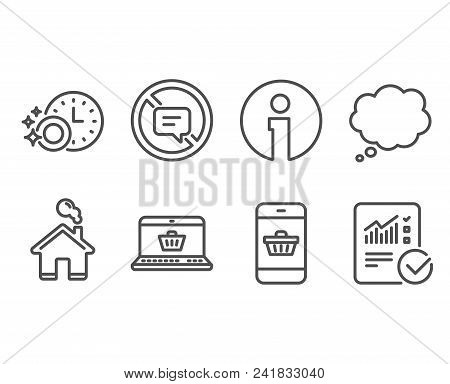 Set Of Stop Talking, Online Shopping And Dishwasher Timer Icons. Smartphone Buying, Comic Message An