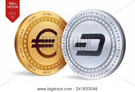 Dash. Euro Coin. 3d Isometric Physical Coins. Digital Currency. Cryptocurrency. Golden And Silver Co