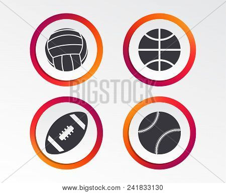 Sport Balls Icons. Volleyball, Basketball, Baseball And American Football Signs. Team Sport Games. I