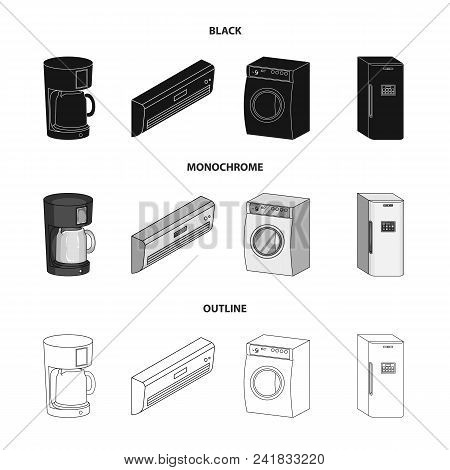 Home Appliances And Equipment Black, Monochrome, Outline Icons In Set Collection For Design.modern H