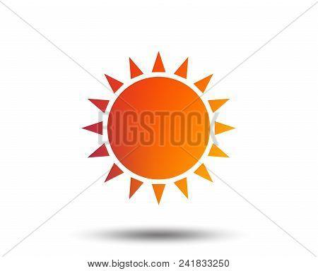 Sun Icon. Sunlight Summer Symbol. Hot Weather Sign. Blurred Gradient Design Element. Vivid Graphic F