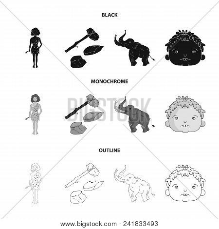 Weapon, Hammer, Elephant, Mammoth .stone Age Set Collection Icons In Black, Monochrome, Outline Styl