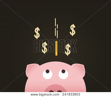 Piggybank Looking At Coin Falling Into Its Deposit. Vector Illustration Design For Money And Economy