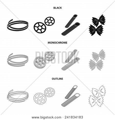 Different Types Of Pasta. Types Of Pasta Set Collection Icons In Black, Monochrome, Outline Style Ve