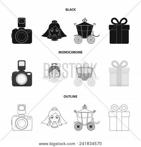 Bride, Photographing, Gift, Wedding Car. Wedding Set Collection Icons In Black, Monochrome, Outline
