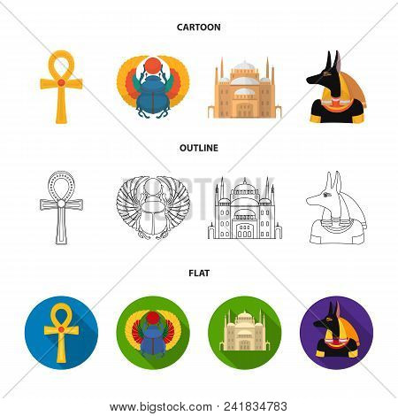 Anubis, Ankh, Cairo Citadel, Egyptian Beetle.ancient Egypt Set Collection Icons In Cartoon, Outline,