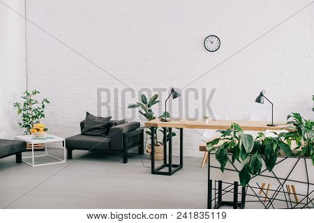 Interior Of Modern Office With Furniture, Plants And Clock On Wall