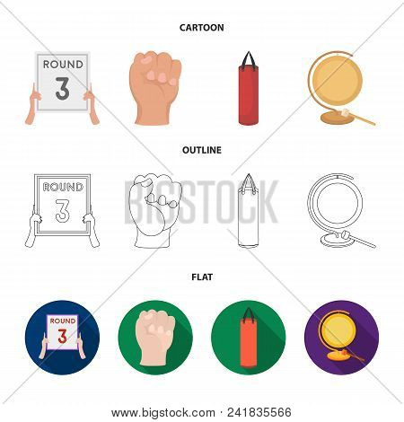 Boxing, Sport, Round, Hand .boxing Set Collection Icons In Cartoon, Outline, Flat Style Vector Symbo