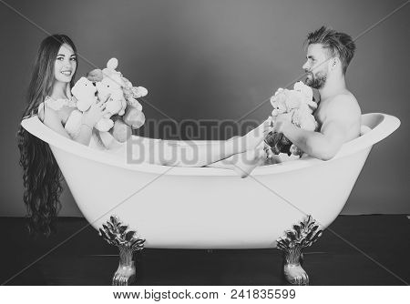 Romantic Sweet Romance Celebration Luxury Day. Boyfriend And Girlfriend Relax On Red Background. Man