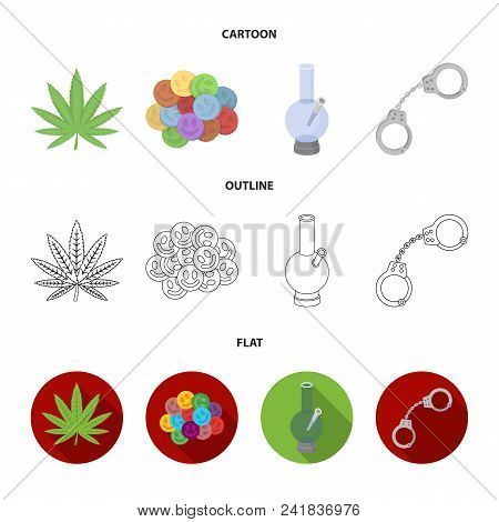 Hemp Leaf, Ecstasy Pill, Handcuffs, Bong.drug Set Collection Icons In Cartoon, Outline, Flat Style V