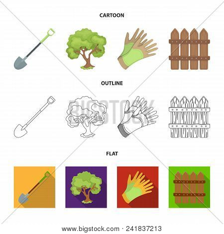 A Shovel With A Handle, A Tree In The Garden, Gloves For Working On A Farm, A Wooden Fence. Farm And