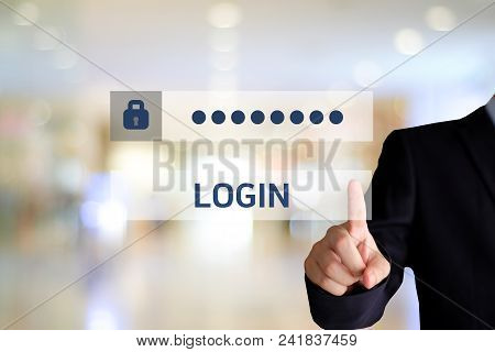 Businessman Hand Touching Password Login Device Screen Over Blur Background, Banner, Cyber Security