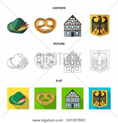 Country Germany Cartoon, Outline, Flat Icons In Set Collection For Design. Germany And Landmark Vect