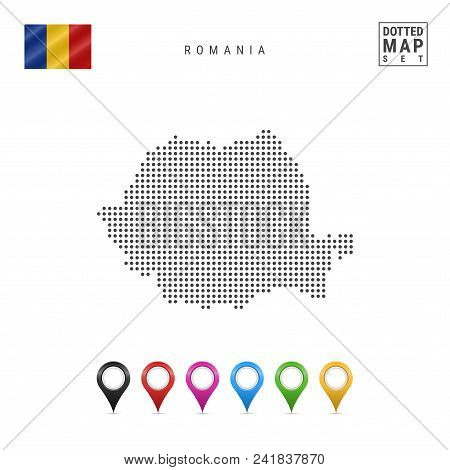 Dotted Map Of Romania. Simple Silhouette Of Romania. The National Flag Of Romania. Set Of Multicolor