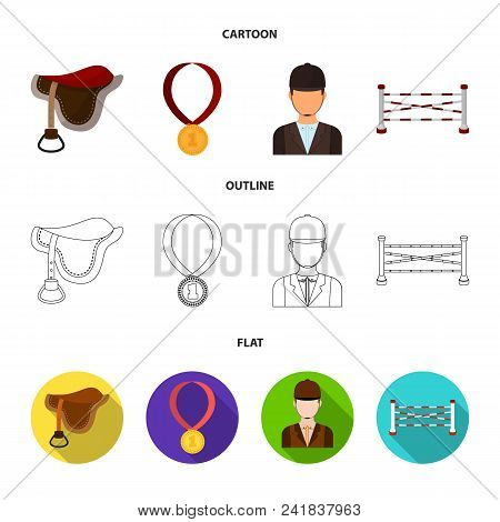 Saddle, Medal, Champion, Winner .hippodrome And Horse Set Collection Icons In Cartoon, Outline, Flat